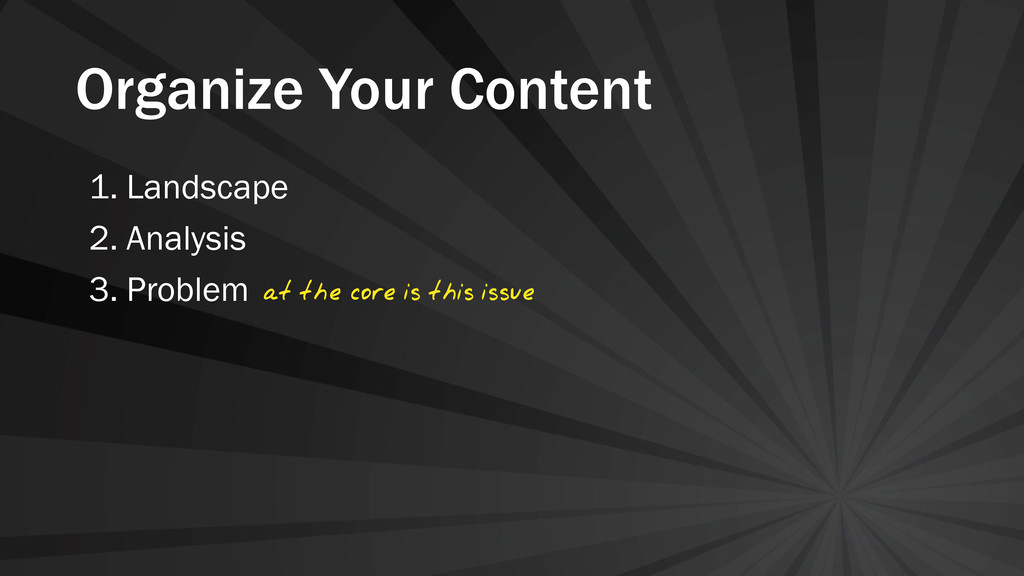 Organize Your Content 1. Landscape 2. Analysis ...
