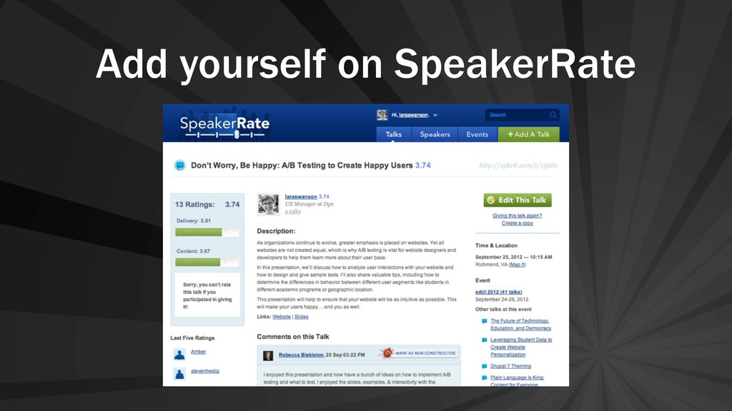 Add yourself on SpeakerRate