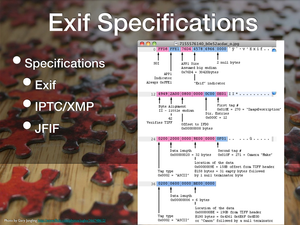 Exif Specifications! • Specifications! • Exif! • ...