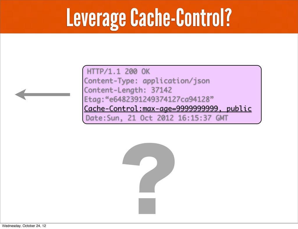 Leverage Cache-Control? HTTP/1.1 200 OK Content...