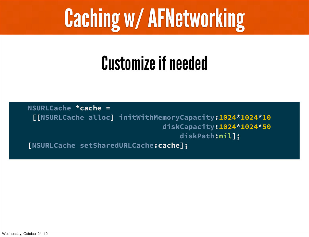 Caching w/ AFNetworking Customize if needed NSU...