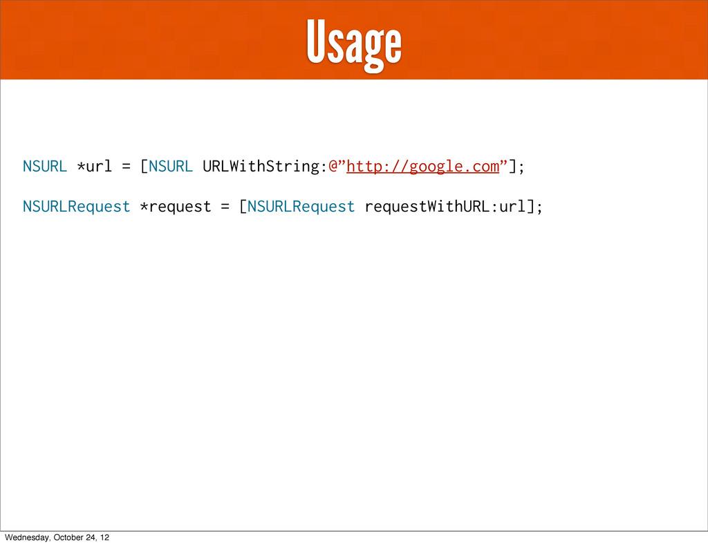"Usage NSURL *url = [NSURL URLWithString:@""http:..."