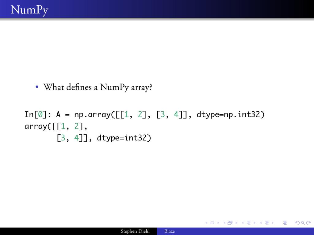 . . . . . . . . NumPy • What defines a NumPy arr...