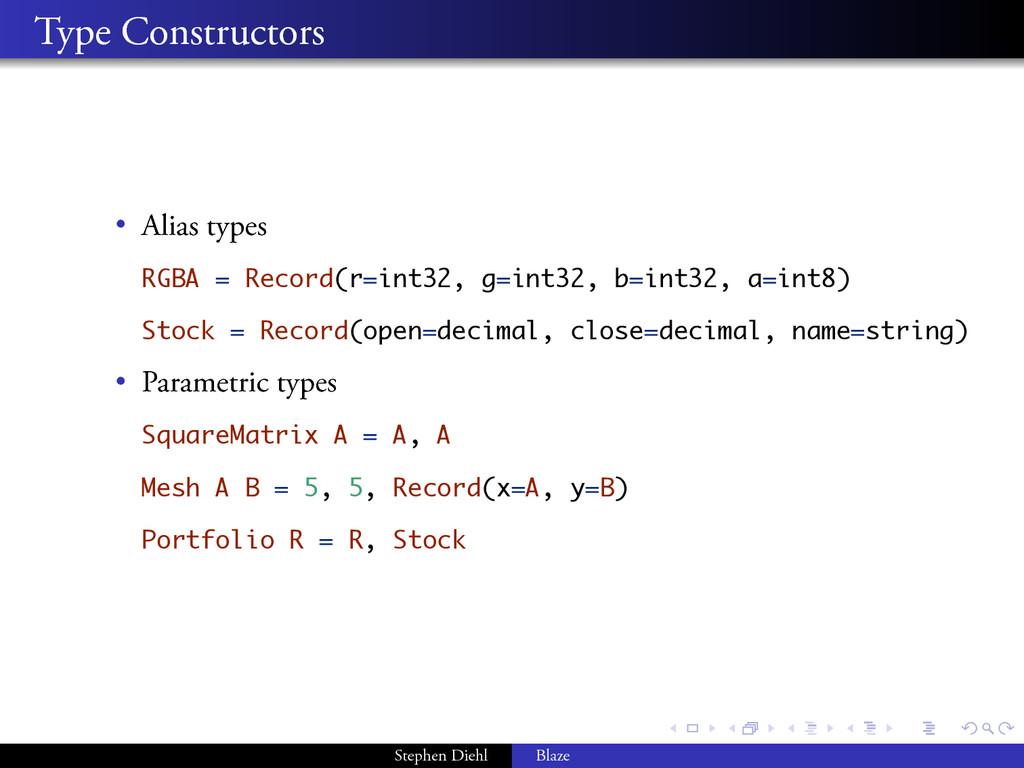 . . . . . . . . Type Constructors • Alias types...