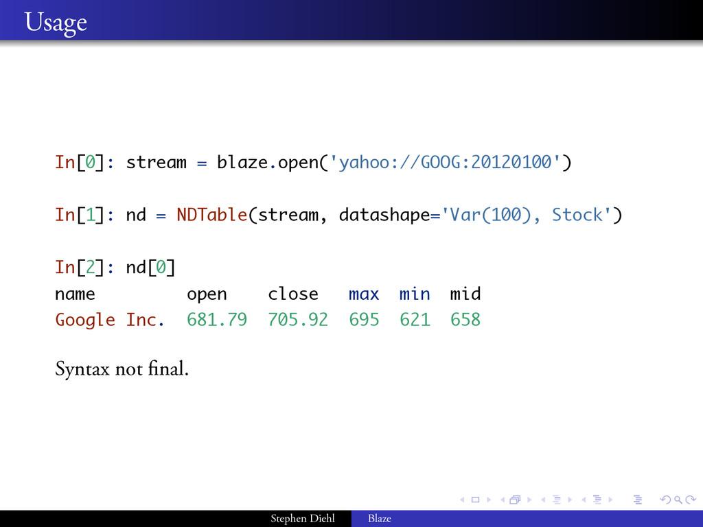 . . . . . . . . Usage In[0]: stream = blaze.ope...
