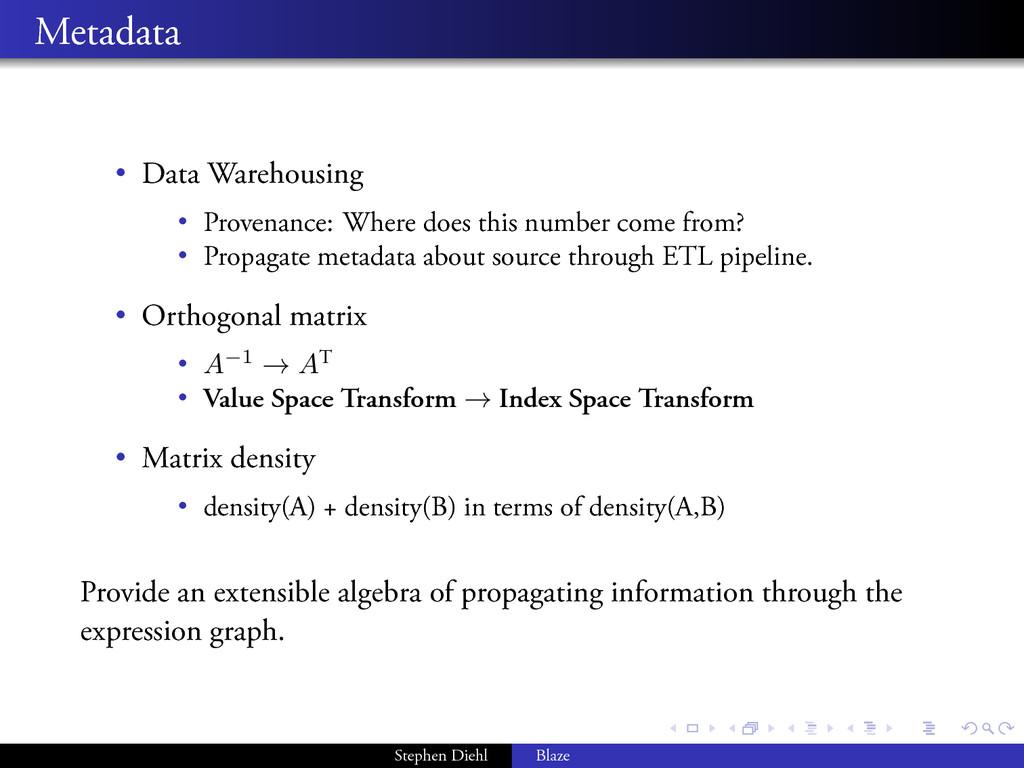 . . . . . . . . Metadata • Data Warehousing • P...