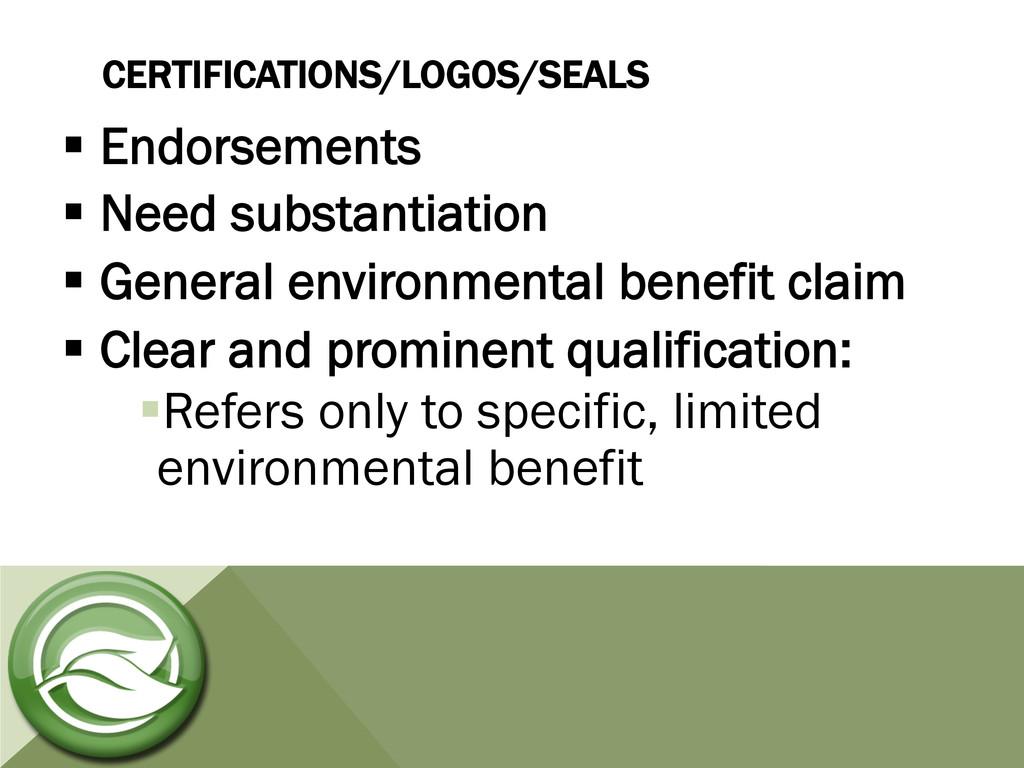 CERTIFICATIONS/LOGOS/SEALS §Endorsements §N...