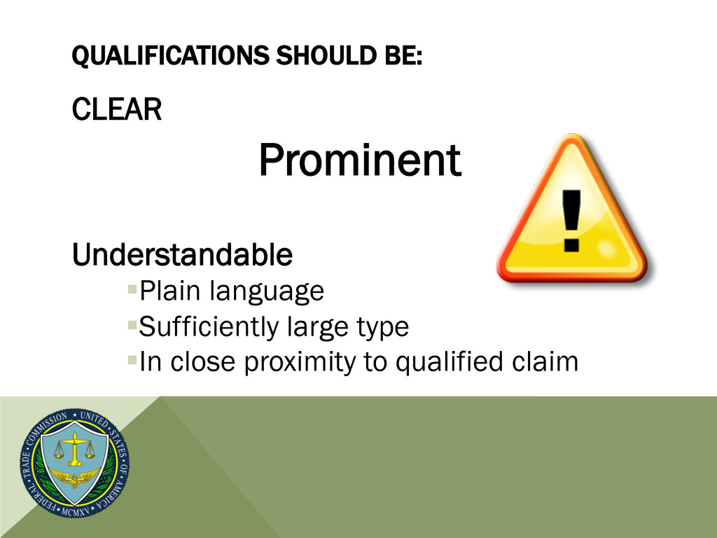 QUALIFICATIONS SHOULD BE: CLEAR Prominent Under...