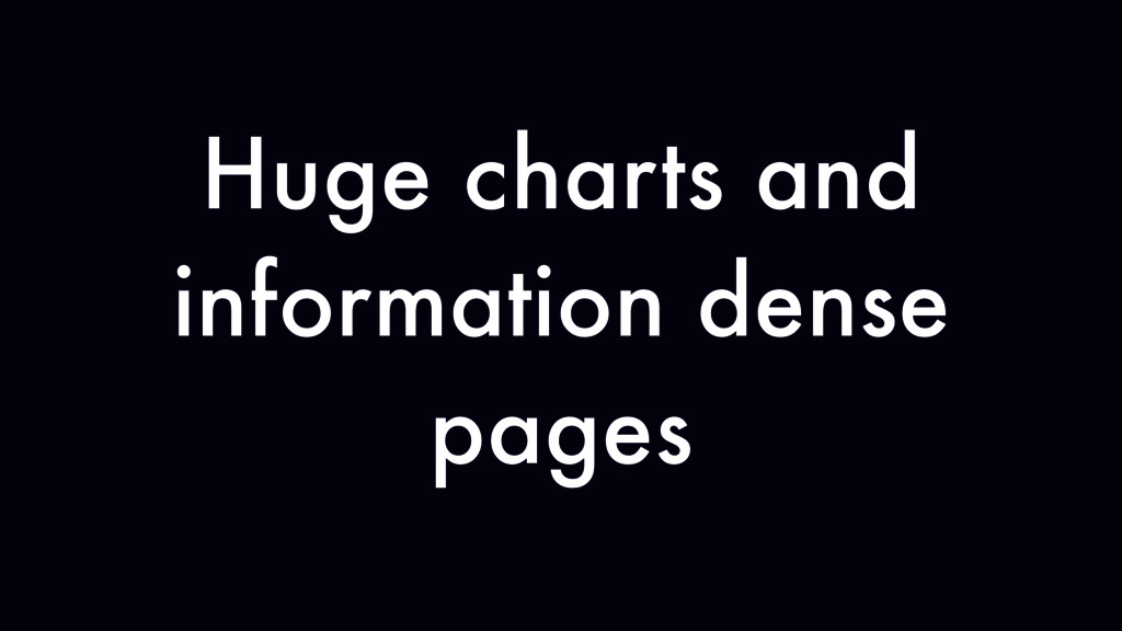 Huge charts and information dense pages