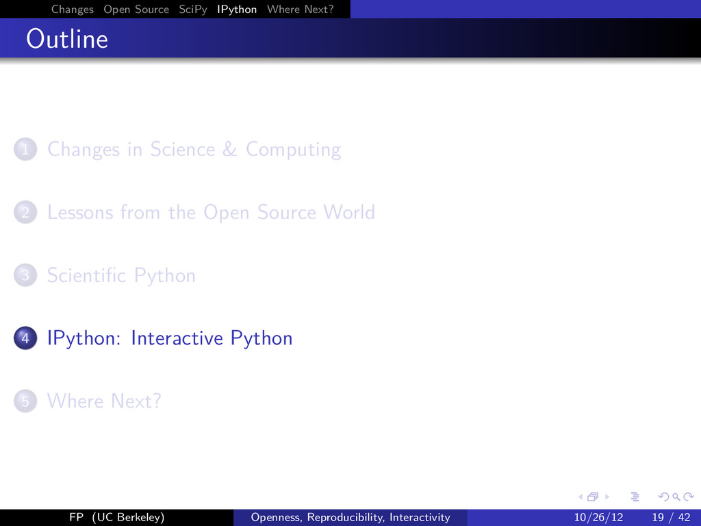 Changes Open Source SciPy IPython Where Next? O...