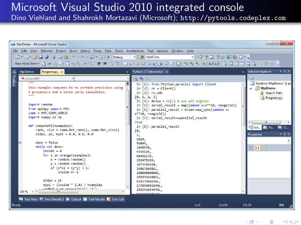 Microsoft Visual Studio 2010 integrated console...