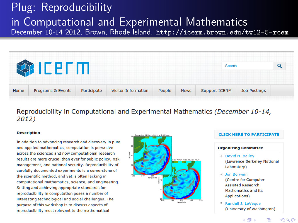 Plug: Reproducibility in Computational and Expe...
