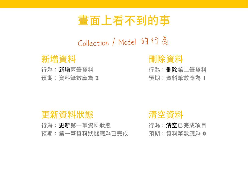 Collection / Model 的行為 畫⾯面上看不到的事 新增資料 ⾏行為:新增兩筆資...