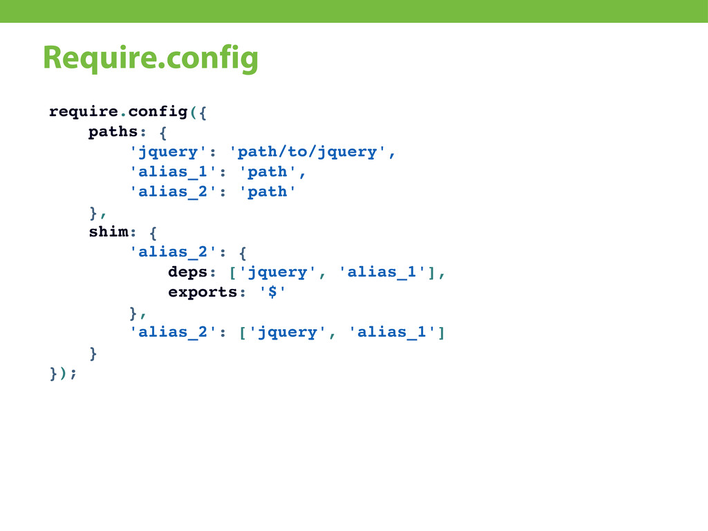 Require.config require.config({ paths: { 'jquer...