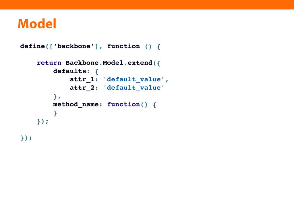 Model define(['backbone'], function () { return...