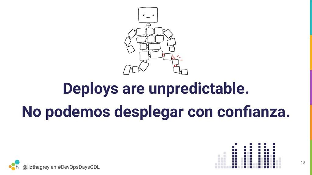 @lizthegrey en #DevOpsDaysGDL Deploys are unpre...