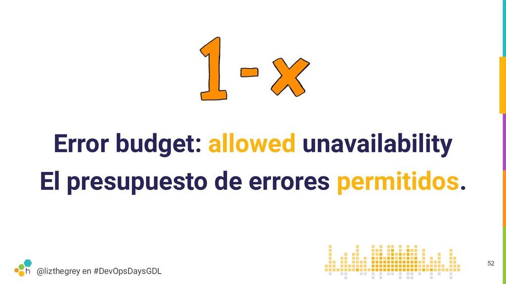 @lizthegrey en #DevOpsDaysGDL Error budget: all...
