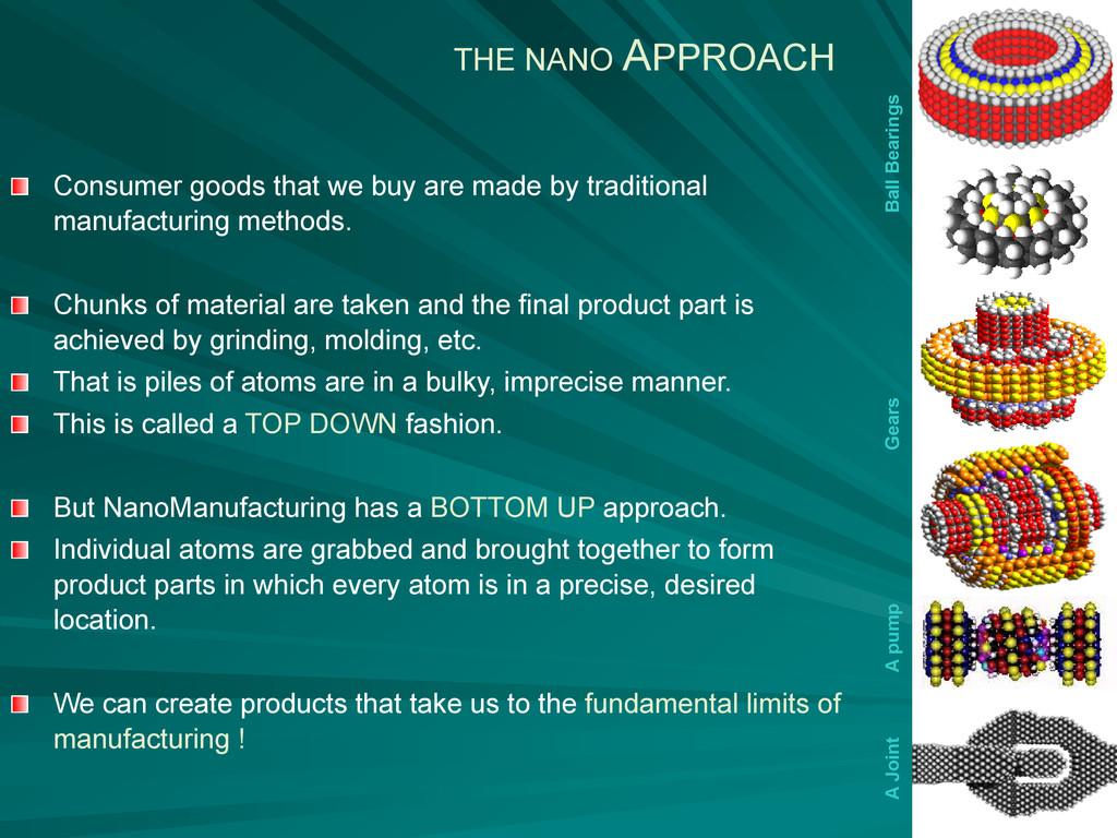 THE NANO APPROACH Ball Bearings Gears A pump A ...