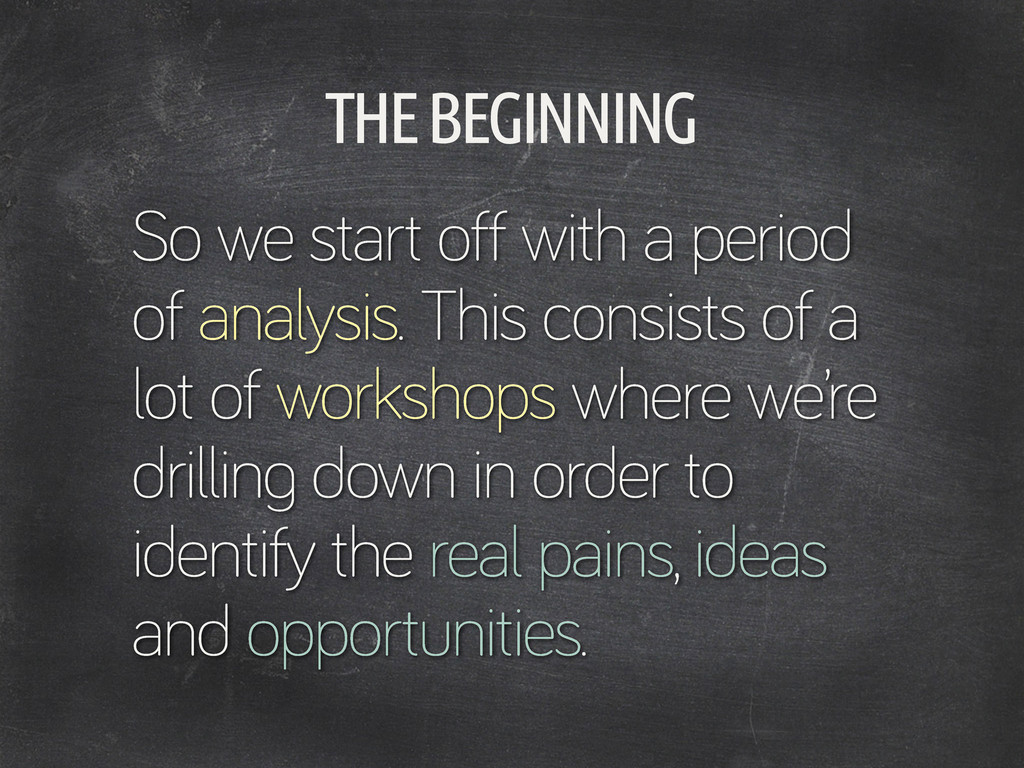 THE BEGINNING So we start off with a period of ...