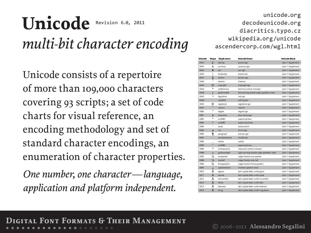 © 2006–2011 Alessandro Segalini Unicode multi-b...