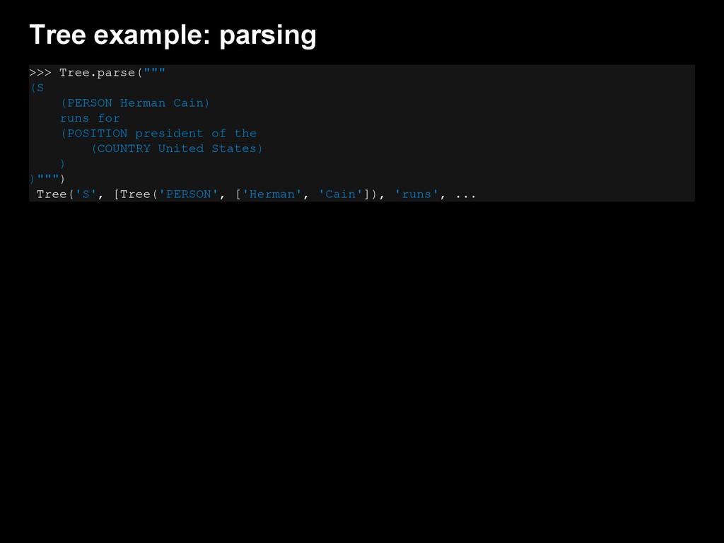 """Tree example: parsing >>> Tree.parse("""""""""""" (S (PE..."""