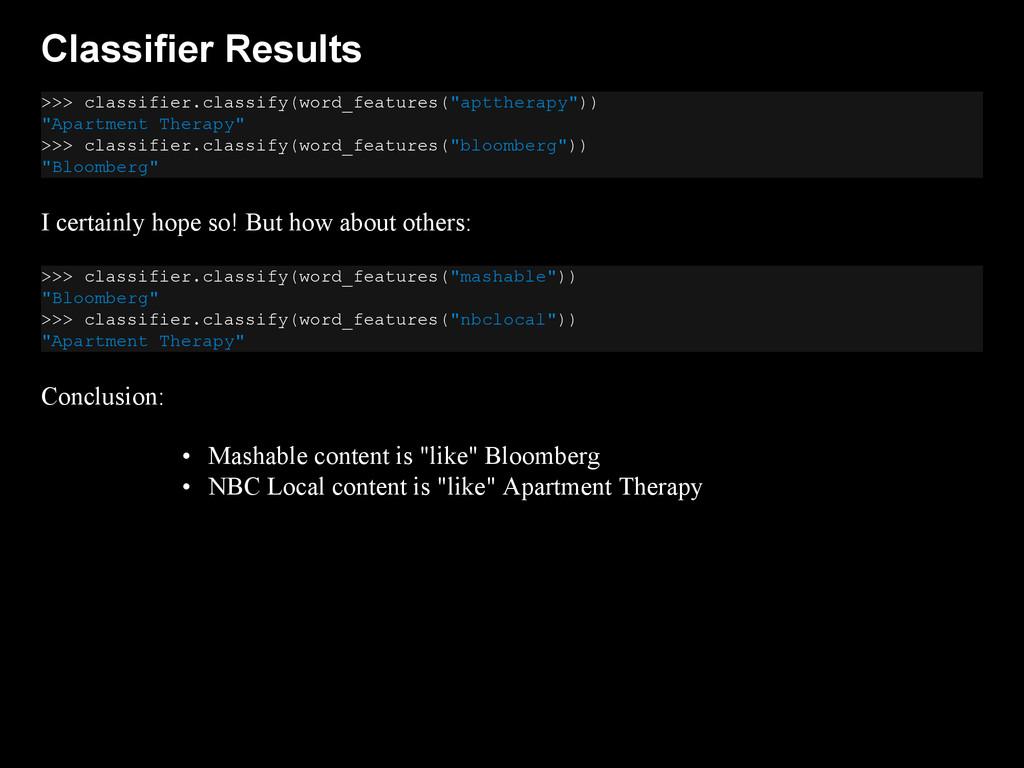 Classifier Results >>> classifier.classify(word...
