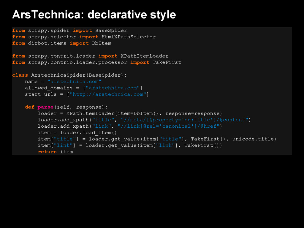 ArsTechnica: declarative style from scrapy.spid...