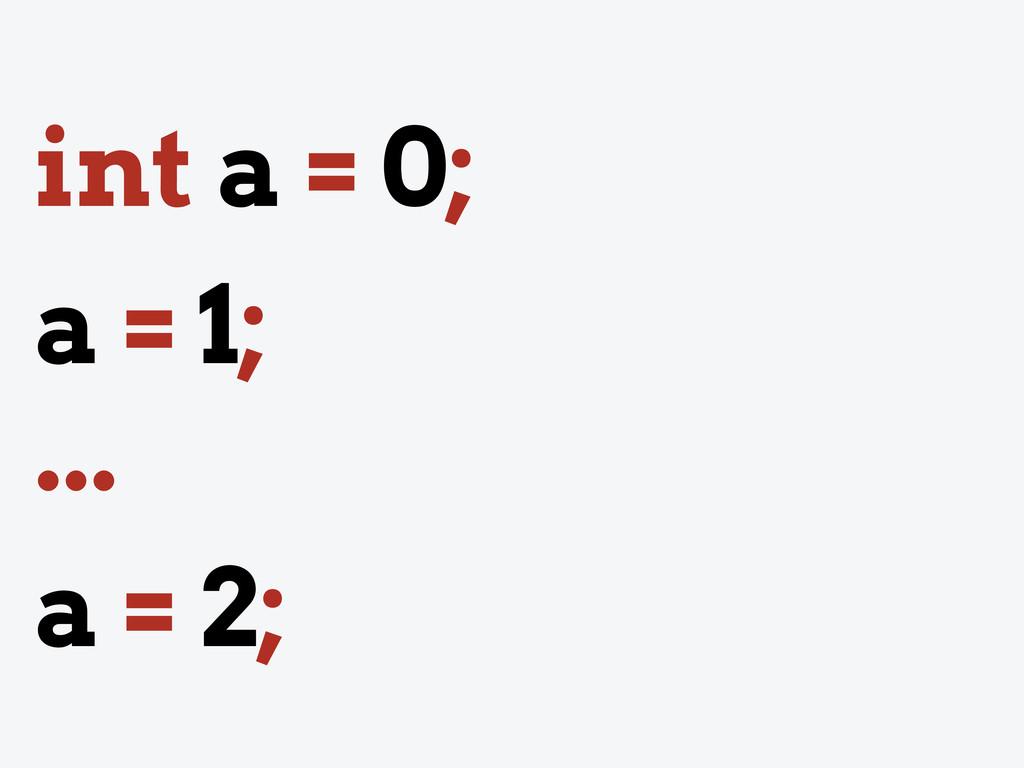 int a = 0; a = 1; ... a = 2;
