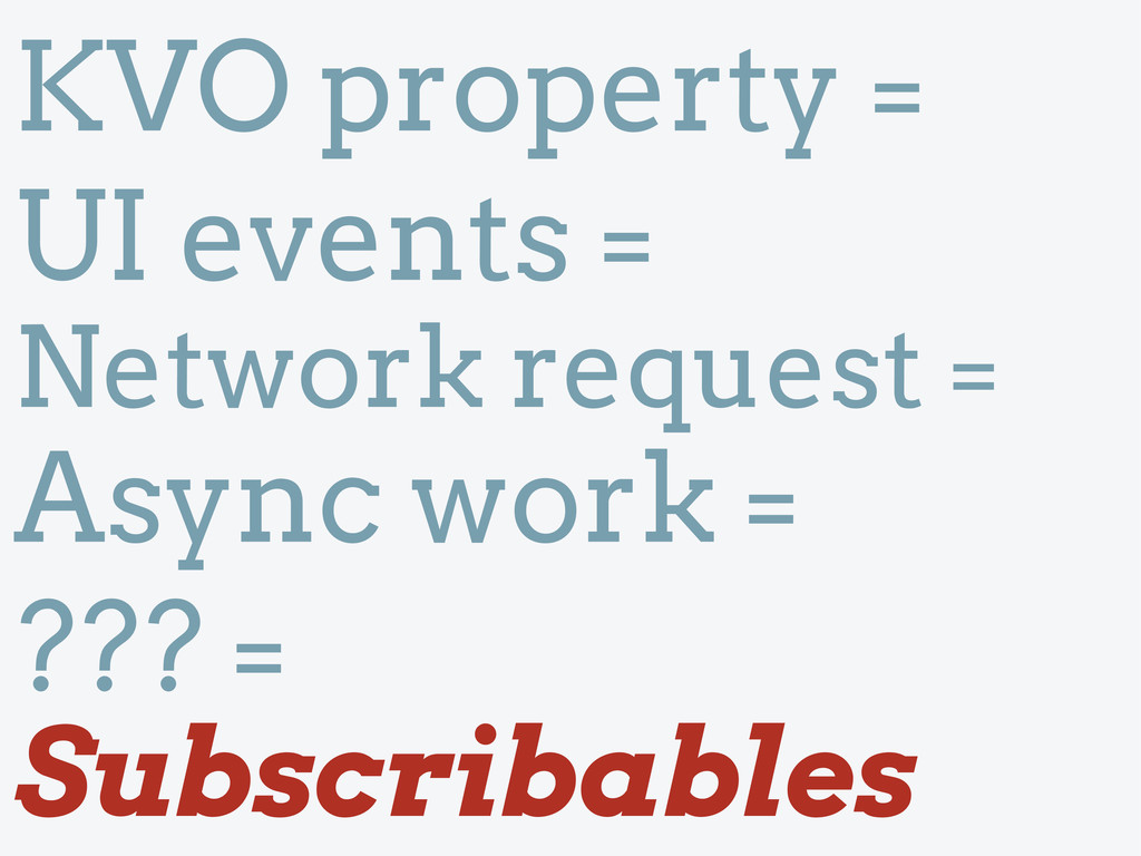KVO property = UI events = Network request = As...