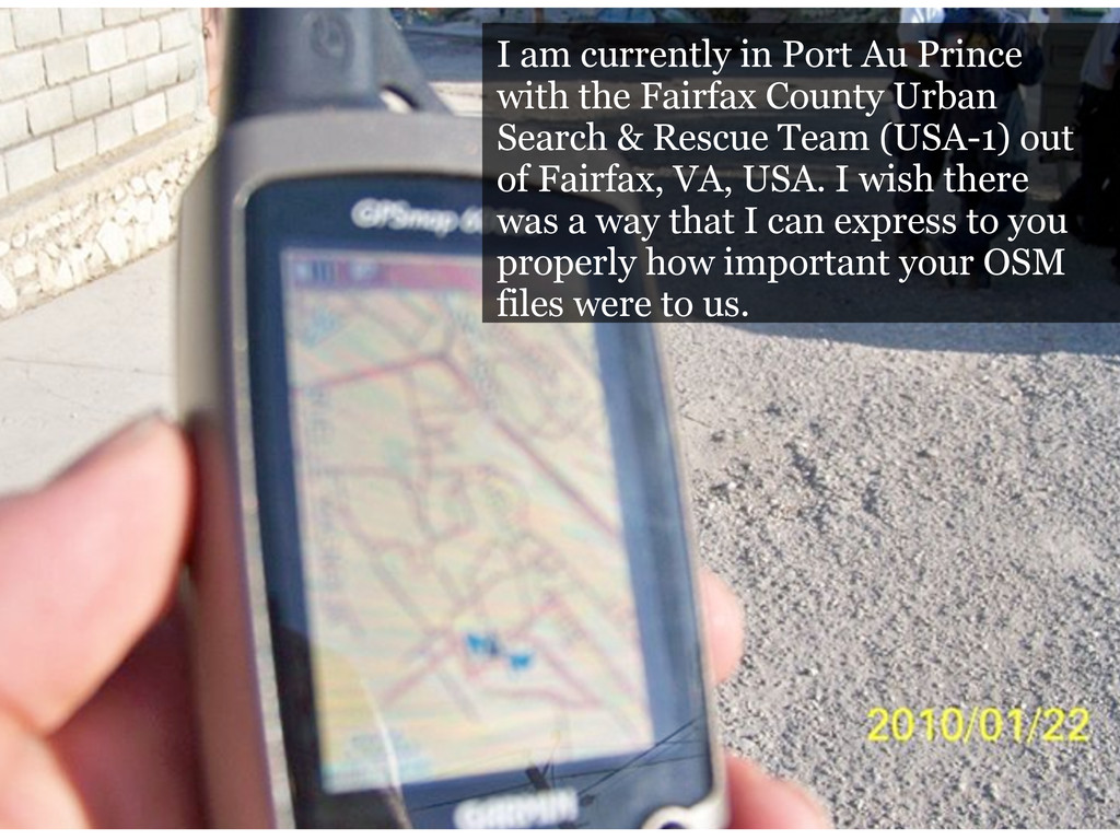 I am currently in Port Au Prince with the Fairf...