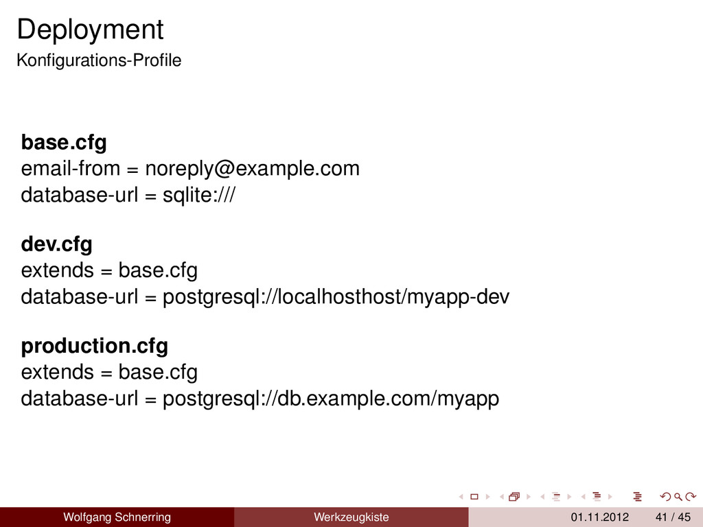 Deployment Konfigurations-Profile base.cfg email-...