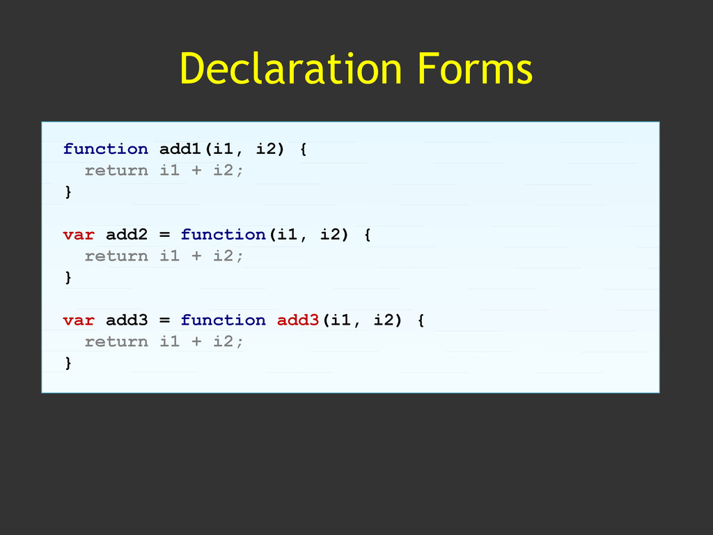Declaration Forms function add1(i1, i2) { retur...
