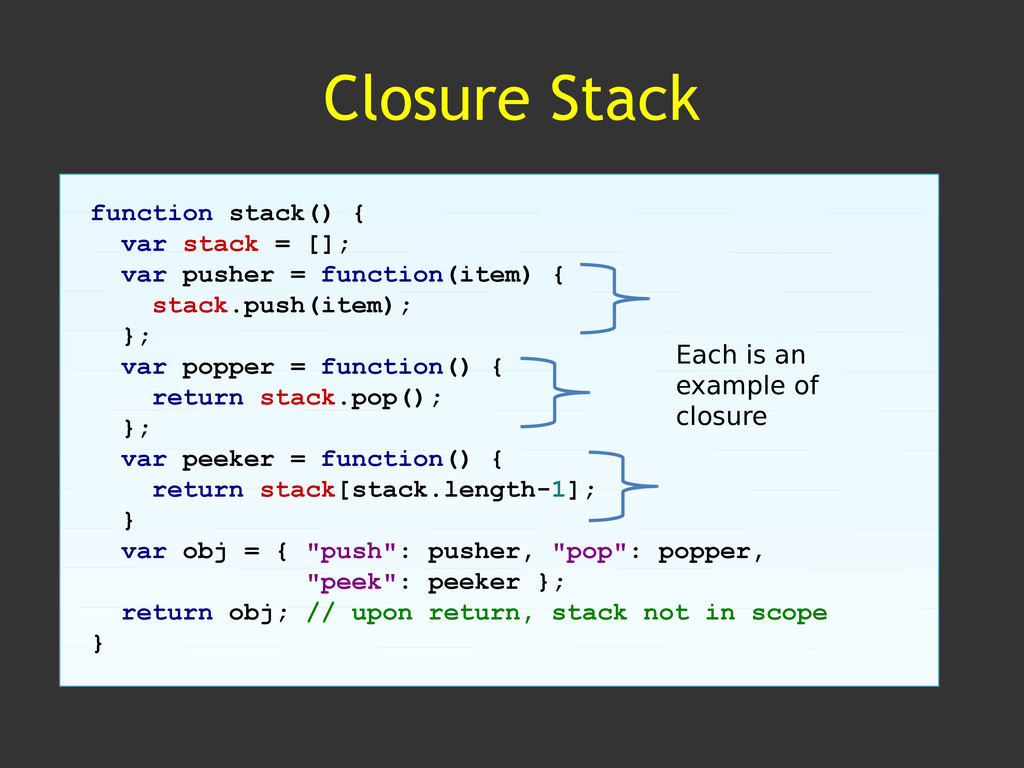 Closure Stack function stack() { var stack = []...