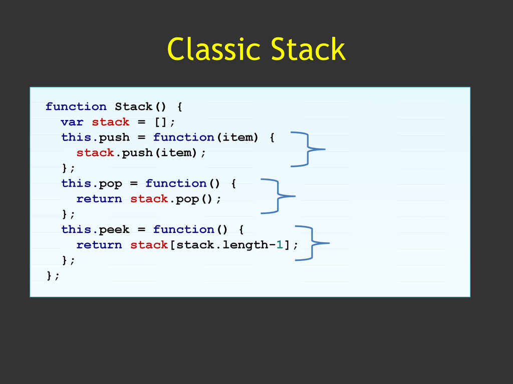 Classic Stack function Stack() { var stack = []...