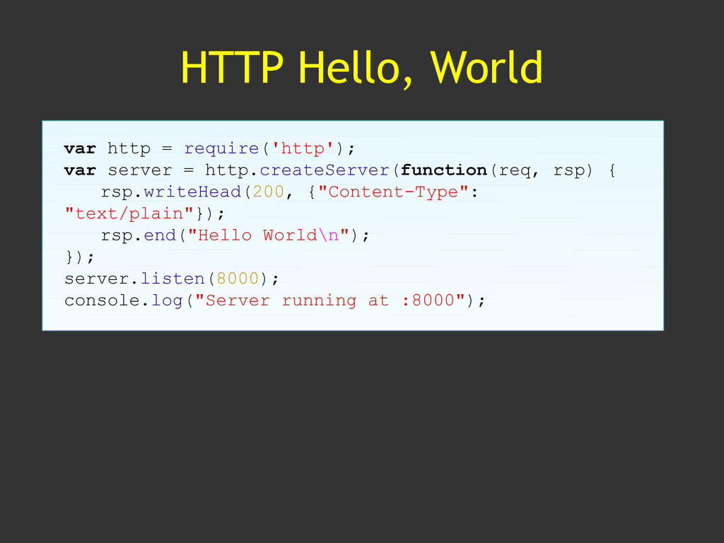 HTTP Hello, World var http = require('http'); v...
