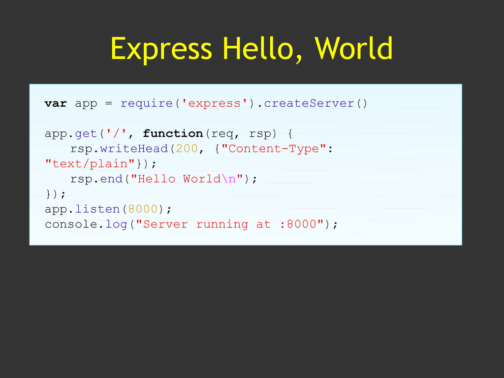 Express Hello, World var app = require('express...