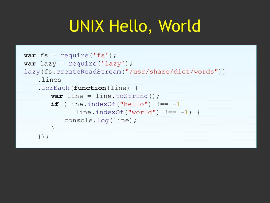 UNIX Hello, World var fs = require('fs'); var l...