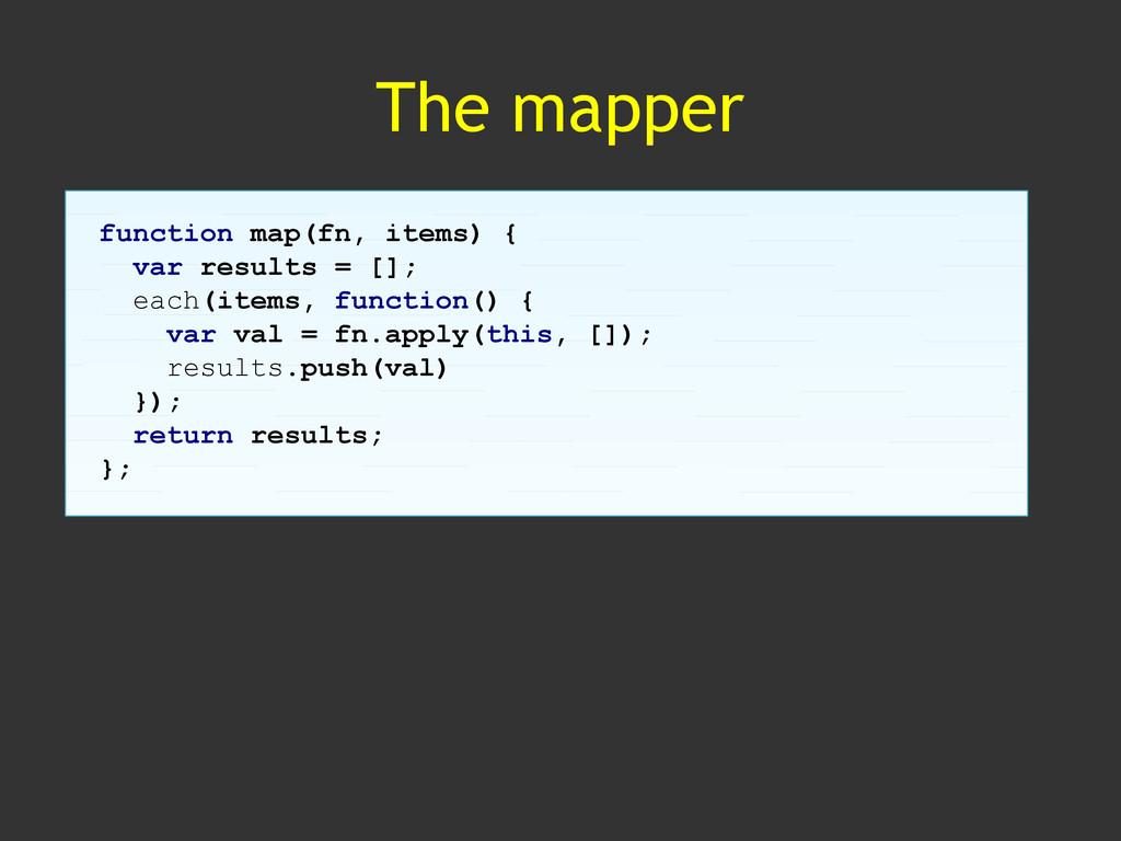 The mapper function map(fn, items) { var result...