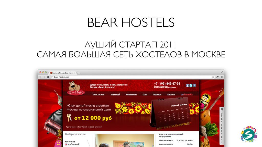 BEAR HOSTELS ЛУШИЙ СТАРТАП 2011 САМАЯ БОЛЬШАЯ С...