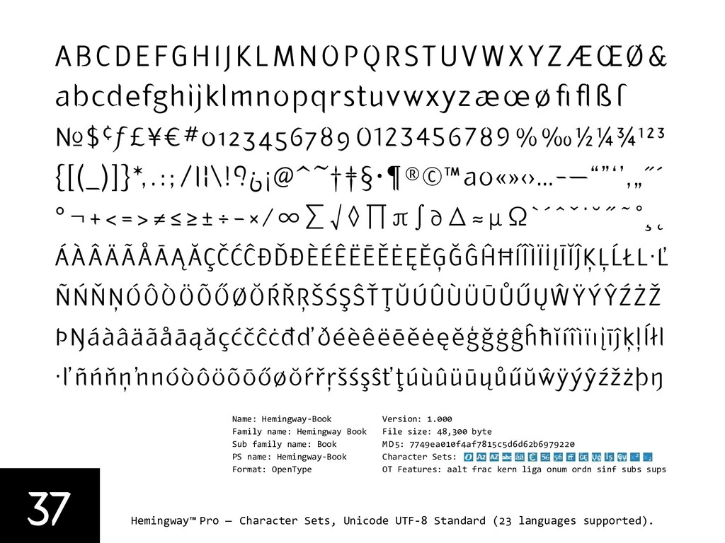 37 Hemingway™ Pro — Character Sets, Unicode UTF...