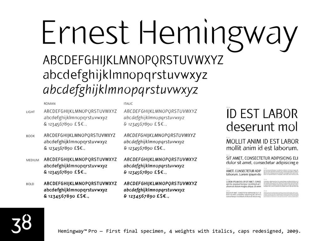 38 Hemingway™ Pro — First final specimen, 4 wei...