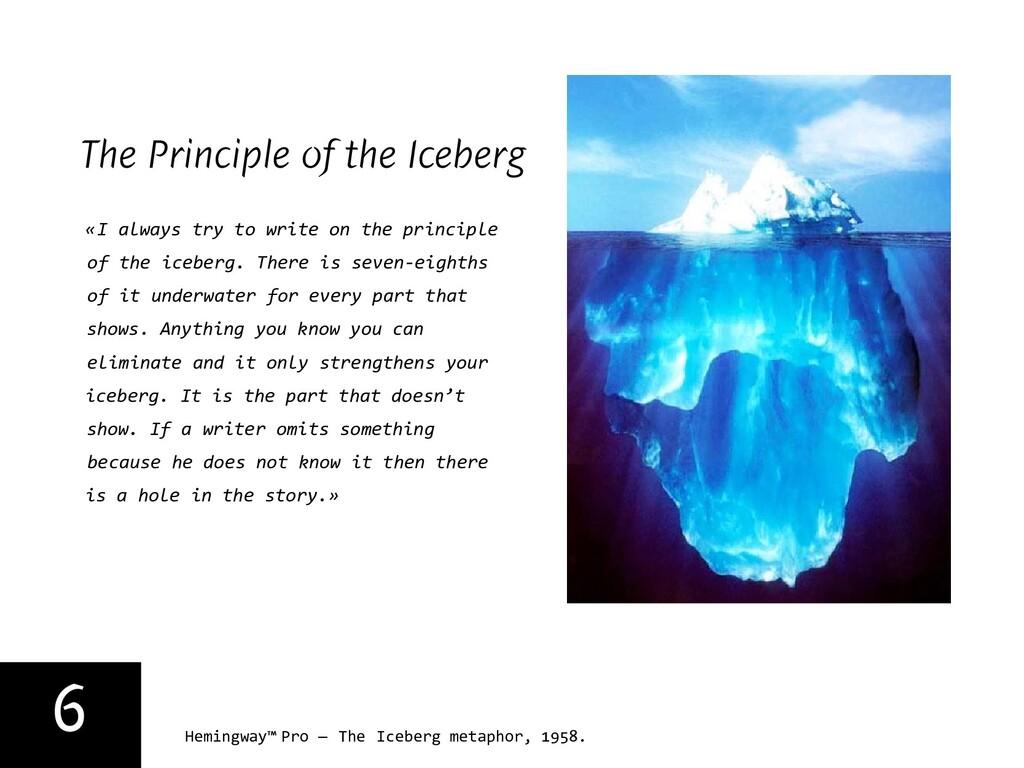 6 Hemingway™ Pro — The Iceberg metaphor, 1958. ...
