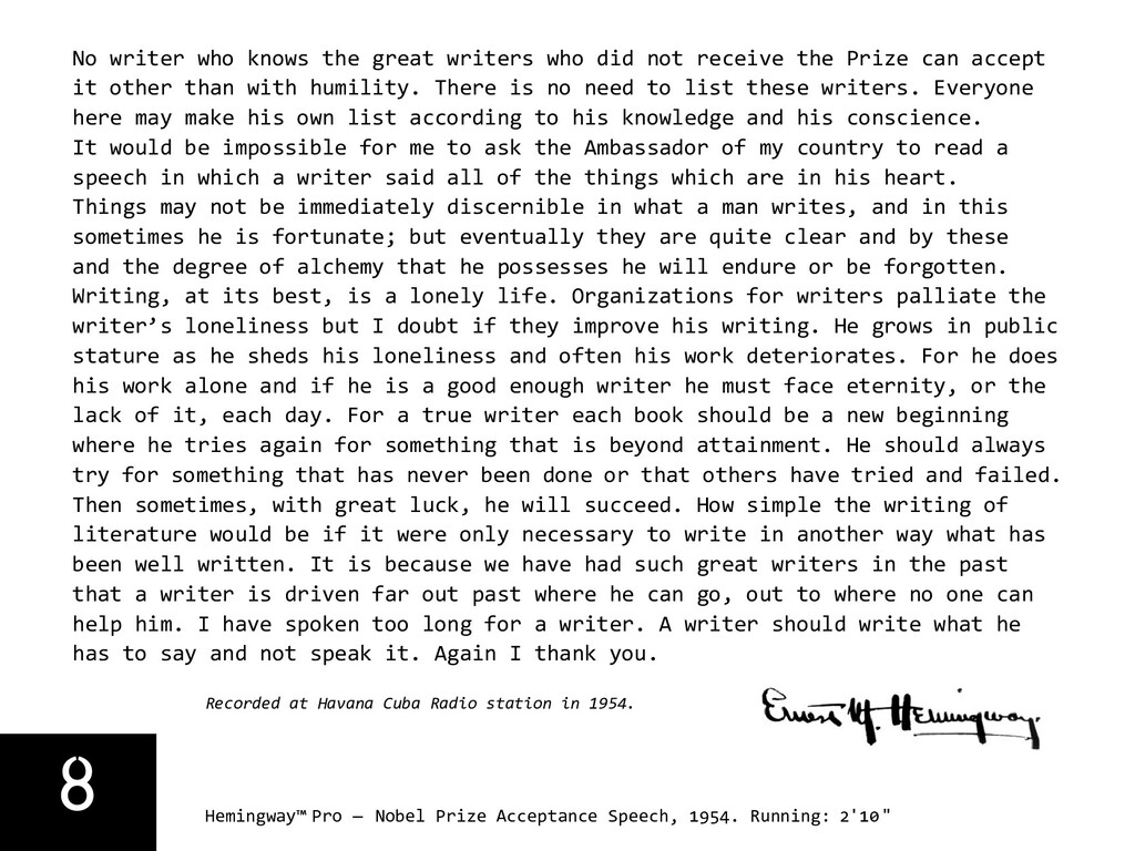 8 Hemingway™ Pro — Nobel Prize Acceptance Speec...