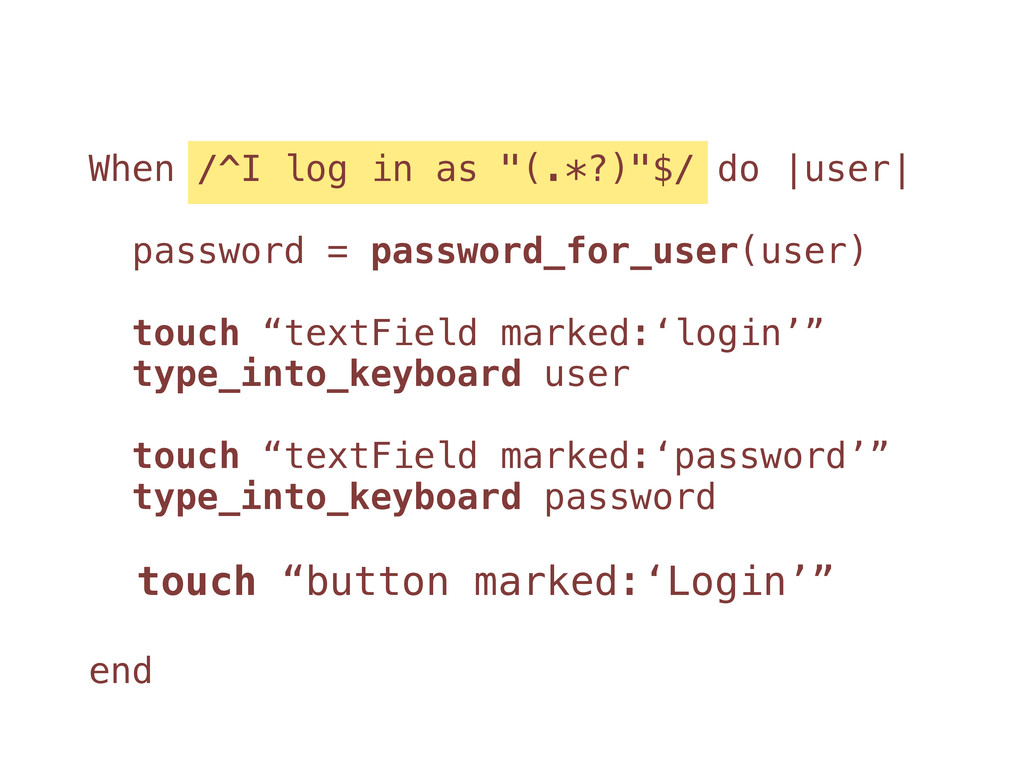 "When /^I log in as ""(.*?)""$/ do |user| password..."
