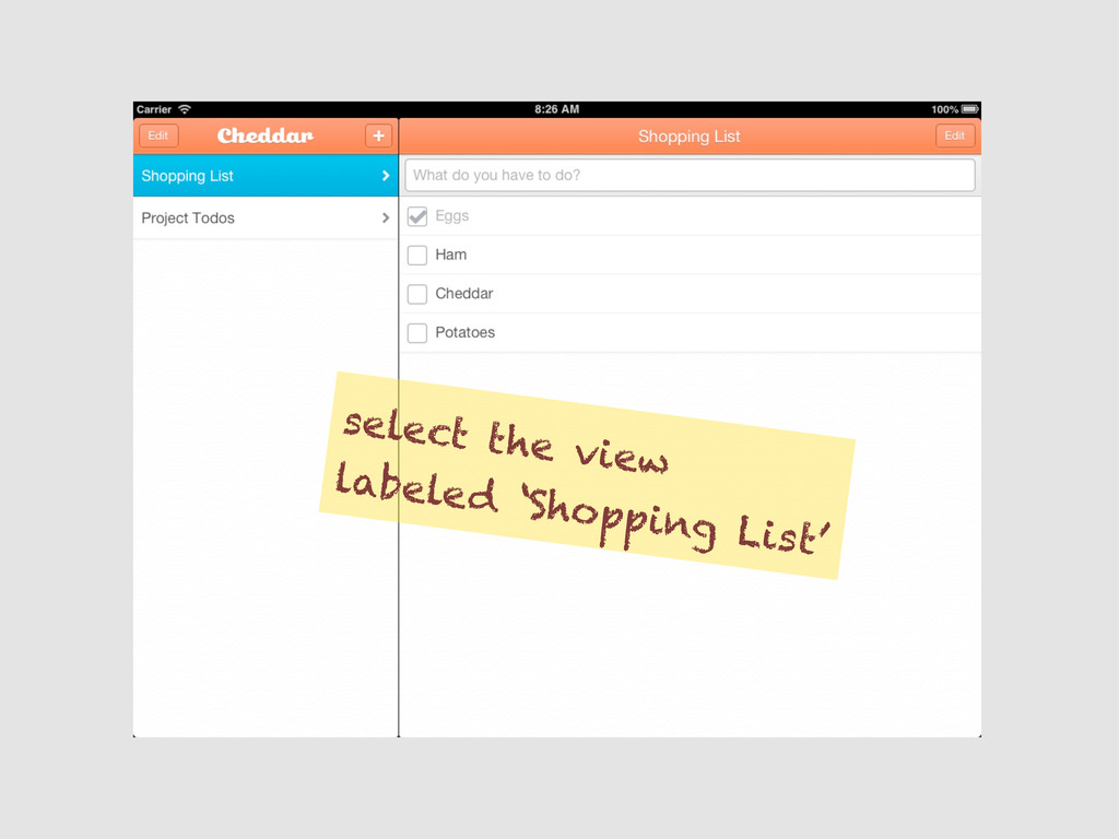 select the view labeled 'Shopping List'