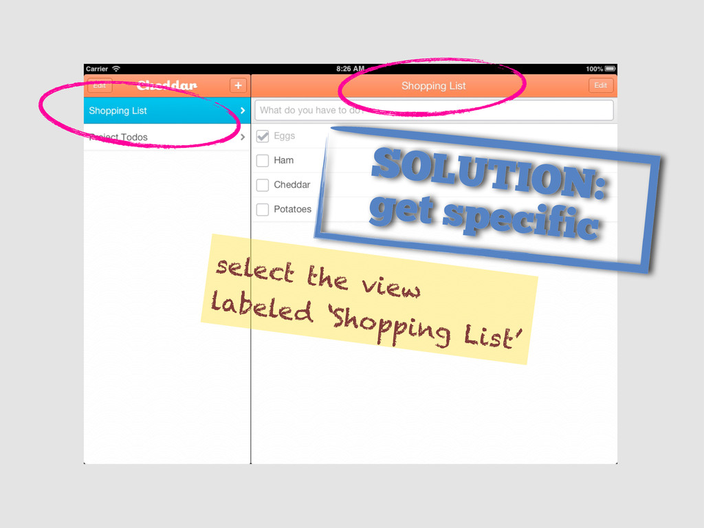 select the view labeled 'Shopping List' SOLUTIO...