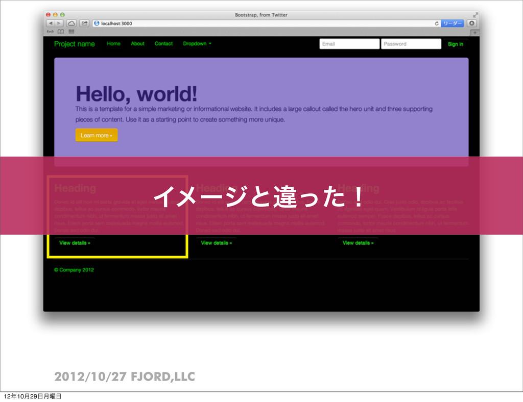 2012/10/27 FJORD,LLC Πϝʔδͱҧͬͨʂ 1210݄29݄༵