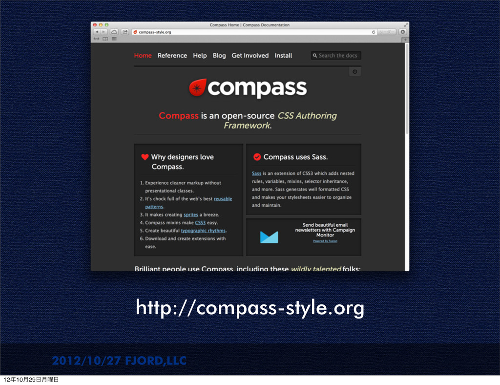 2012/10/27 FJORD,LLC http://compass-style.org 1...