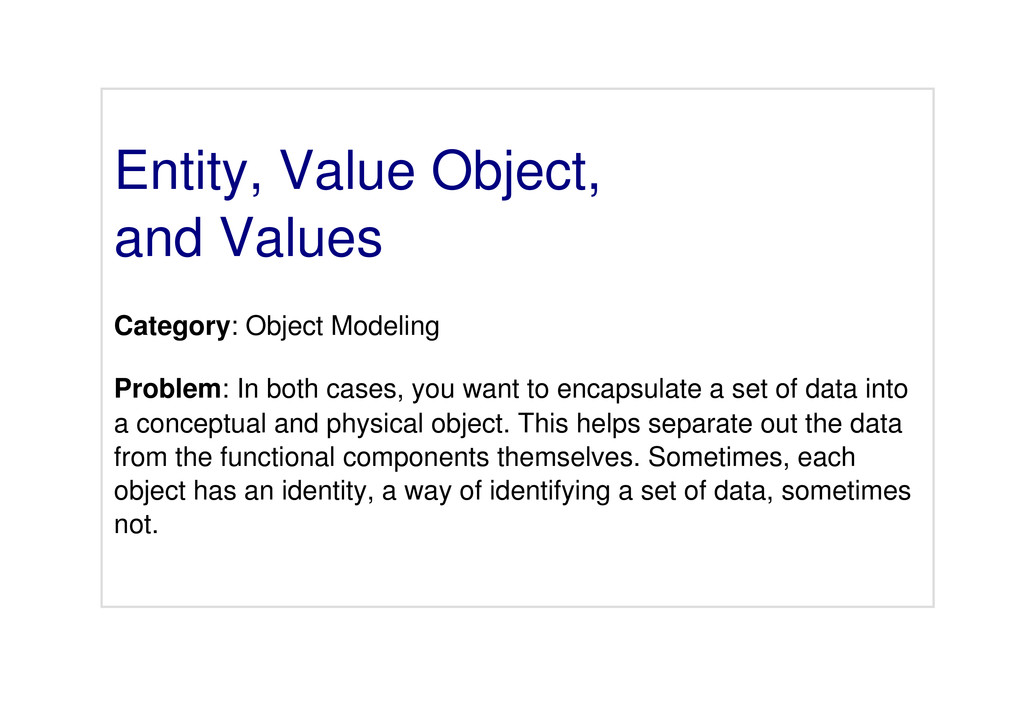 Entity, Value Object, and Values Category: Obje...
