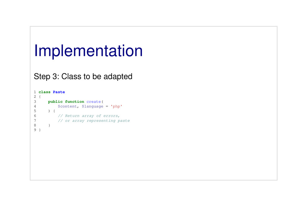 Implementation Step 3: Class to be adapted 1 cl...